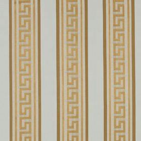 Meander Stripe - Warm Gold - 100% silk fabric featuring vertical stripes and Classical style angular swirls in off-white, cream, caramel and