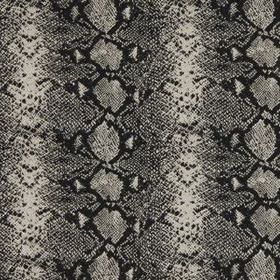 Mia - Black & White - A reptile skin style pattern covering wool and silk blend fabric in black and stylish shades of grey