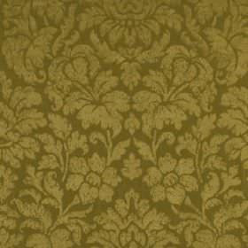 Mon Cheri - Bronze - Large, elegant light gold coloured flowers and leaves patterning a khaki coloured silk and linen blend fabric backgroun
