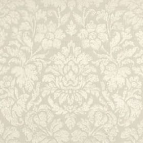 Mon Cheri - Frost - White and very pale grey coloured fabric made from silk and linen, featuring subtle, elegant florals and leaves