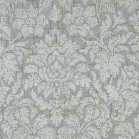 Mon Cheri - Ice Wine - Floral and leaf patterned silk and linen blend fabric, made with large, elegant designs in two different shades of gr