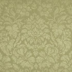 Mon Cheri - Mint Julep - Flowers and leaves creating a large, elegant putty coloured design on light stone grey coloured silk and linen blend fa