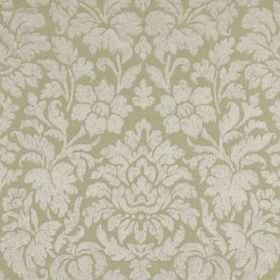 Mon Cheri - Silver - Two different light shades of grey making up a large, elegant floral and leaf design on fabric made from silk and linen