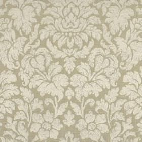 Mon Cheri - Smoke - Silk and linen blend fabric featuring large, elegant flowers and leaves in two different light shades of silver-grey