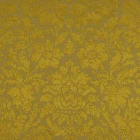 Mon Cheri - Topaz - Rich, luxurious gold coloured flowers and leaves creating a large, elegant design on light brown silk and linen fabric