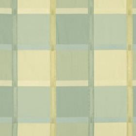 Monte Rosa - Mineral - Light cream and duck egg blue shades making up a simple, stylish grid design on 100% silk fabric