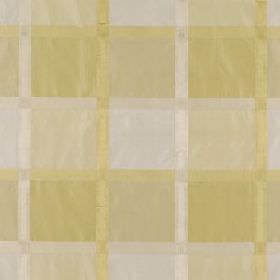 Monte Rosa - Yellow Lotus - A simple, stylish grid patterning 100% silk fabric in light, neutral shades of cream and white