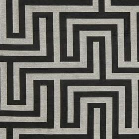 Olympus - Black and White - A black and light grey coloured simple maze style design printed on polyester, cotton and silk blend fabric