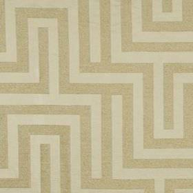 Olympus - Ivory - Off-white and beige coloured fabric made from polyester, cotton and silk, printed with a simple maze style pattern