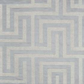 Olympus - Moonstone - Fabric made from polyester, cotton and silk, featuring a simple maze style pattern in light shades of blue and grey