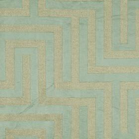 Olympus - Ocean - Polyester, cotton and silk blend fabric made in duck egg blue and light ash grey, featuring a simple maze style pattern