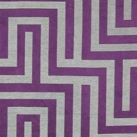 Olympus - Purple - Royal purple and light grey making up a simple, stylish maze style design on fabric made from polyester, cotton and silk