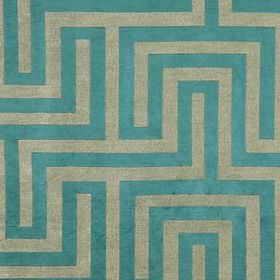 Olympus - Tourmaline - Fabric made from light grey and bright turquoise coloured polyester, cotton and silk, featuring a maze style pattern