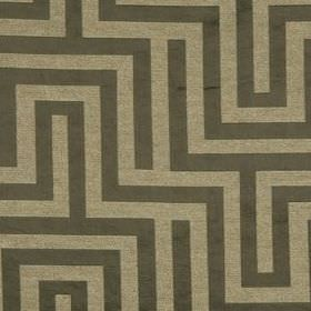 Olympus - Umber - Polyester, cotton and silk blend fabric featuring a simple maze style design in dark brown and light brown-grey colours