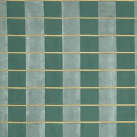 Palette Plaid - Dark Aqua - Thin light grey lines running across a vertically striped fabric made from 100% silk in teal and duck egg blue