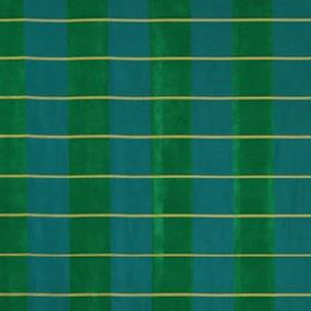 Palette Plaid - Emerald - Bright turquoise and emerald green stripes running down 100% silk fabric, behind thin horizontal light green lines