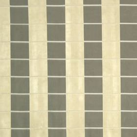 Palette Plaid - Silver Gold - Fabric made from 100% silk, featuring thin horizontal white lines behind cream and dark grey coloured vertical