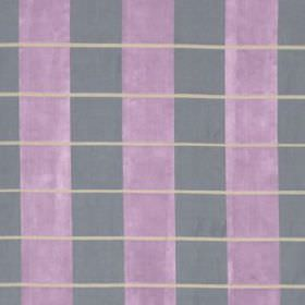 Palette Plaid - Violet - Vertical blue-grey and lavender coloured stripes behind thin pale grey horizontal lines on 100% silk fabric