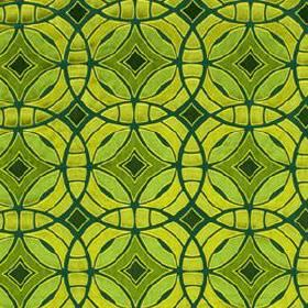 Perspective - Emerald - Various bright, vibrant shades of green making up an interlocking, overlapping, concentric circle design on fabric
