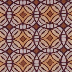 Perspective - Magenta - Overlapping, interlocking, concentric circles patterning fabric in dark purple, reddish brown, cream and pale grey-w