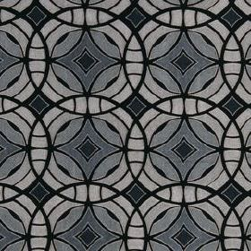 Perspective - Midnight - Striking shades of grey and black making up a fabric with an overlapping, interlocking, concentric circle design