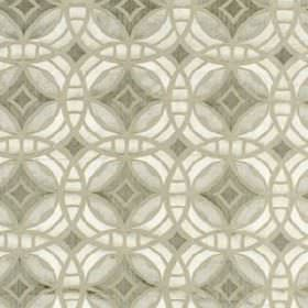 Perspective - Silver Gold - A design of overlapping, interlocking, concentric circles printed on white and classic light grey coloured fabri
