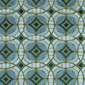 Perspective - Tourmaline - Fabric printed with overlapping, interlocking, concentric circles indark grey and various different shades of bl