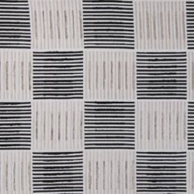 Painters Brush - Black & White - Blocks of horizontal and vertical black and light grey lines creating a checkerboard on pale grey 100% silk
