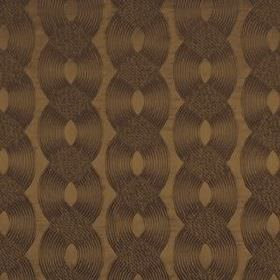 Rockhopper - Teak - Wavy lines creating a stylish, elegant, overlapping pattern on chocolate brown coloured cotton, silk and acrylic fabric