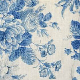 Caroline - Blue - Beautiful, classic floral patterns printed in various shades of royal blue on white fabric made from 100% linen