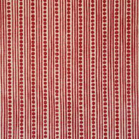 Wicklewood Reverse - Red On Rustic - Burgundy coloured dots arranged in rows between thin vertical lines on light stone coloured fabric made