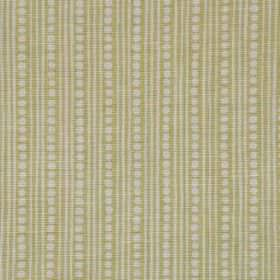 Wicklewood II - Green - Linen, cotton and nylon blend fabric made with light grey dots & thin vertical stripes on a light green-beige backgr