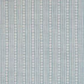 Wicklewood II - Aqua - Thin vertical stripes and rows of dots patterning linen, cotton and nylon blend fabric in light shades of blue and gr