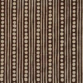 Wicklewood II - Brown On Natural - Light grey dots and thin vertical stripes patterning black fabric blended from a mixture of linen, cotton