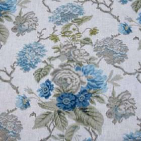 Chelverton II - Blue Green - Light shades of blue and grey making up a sophisticated floral, leaf and branch pattern on 100% linen fabric