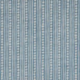 Wicklewood - New Blue On Oyster - Linen and polyamid blend fabric featuring thin stripes and rows of dots in very pale grey and dusky blue