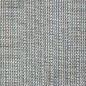 Wicklewood On Oatmeal - Blue - Rows of dots and thin vertical lines woven into 100% linen fabric in ash grey and a darker shade of blue-grey