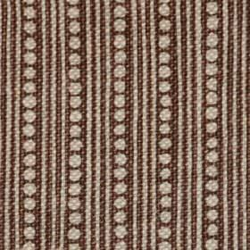 Wicklewood On Oatmeal - Brown - Dark cocoa coloured 100% linen fabric woven with a thin vertical line and dot pattern in light grey