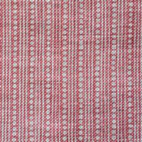 Wicklewood On Oatmeal - Pink - Fabric woven from dark pink-red coloured 100% linen, with a light grey pattern of thin vertical lines and row