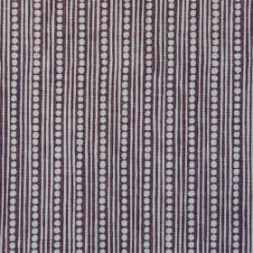 Wicklewood On Rustic - Aubergine - Black and light grey coloured thin vertical stripes and rows of dots woven into fabric made entirely from