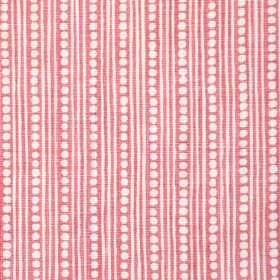 Wicklewood On Rustic - Dark Pink - 100% linen fabric patterned with rows of dots and thin vertical lines in white and light pink colours
