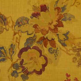 Parnham - Gold - Warm copper, gold, aubergine and dark grey shades making up a watercolour effect floral pattern on 100% linen fabric