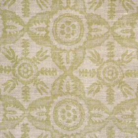 Rossmore - Green - Simple, repeated, light grey-beige coloured patterns printed on a pale grey 100% linen fabric background