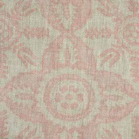 Rossmore - Pink - Pale shades of grey and pink making up a simple, repeated pattern on fabric made entirely from linen
