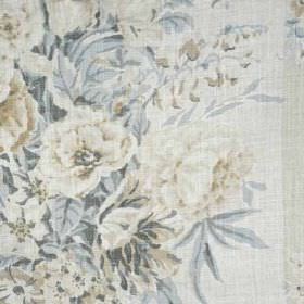 Sherbourne II - Cream Grey - Various different light shades of grey and blue making up large, beautiful, classic floral patterns on 100% lin