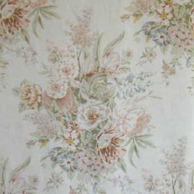 Sherbourne II - Peach Aqua - Fabric made from 100% linen in pale shades ofgrey, pink, blue, green and gold, with large, beautiful, classic