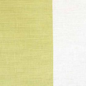 Winfield Stripe II - Lime - Vertically striped white and limestone coloured linen, cotton and nylon blend fabric