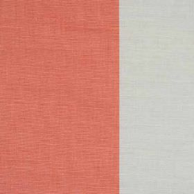 Winfield Stripe II - Coral - Very wide pale grey and salmon pink coloured stripes on fabric blended from linen, cotton and nylon