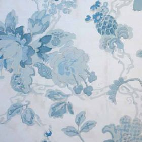 Parnham Silk - Blue On Ivory - Subtle florals featuring a watercolour effect in various different light shades of blue on fabric made from 1