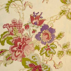 Parnham Silk - Plum Moss Aqua - 100% silk fabric in cream,with olive green, light pink, dusky pink and purple florals, finished with a waterc